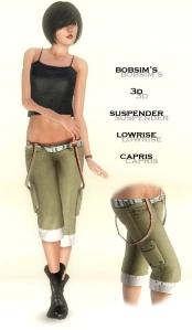 bobsim's 3D lowrise suspender capris